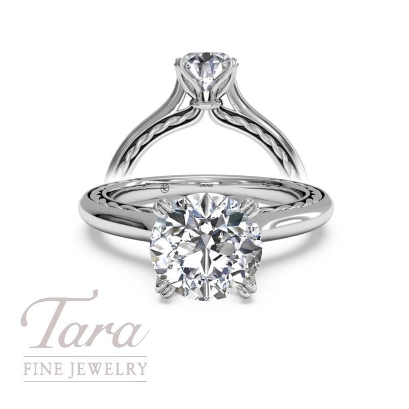 Solitaire Diamond Braided Engagement Ring in 18K White Gold (center stone sold separately)
