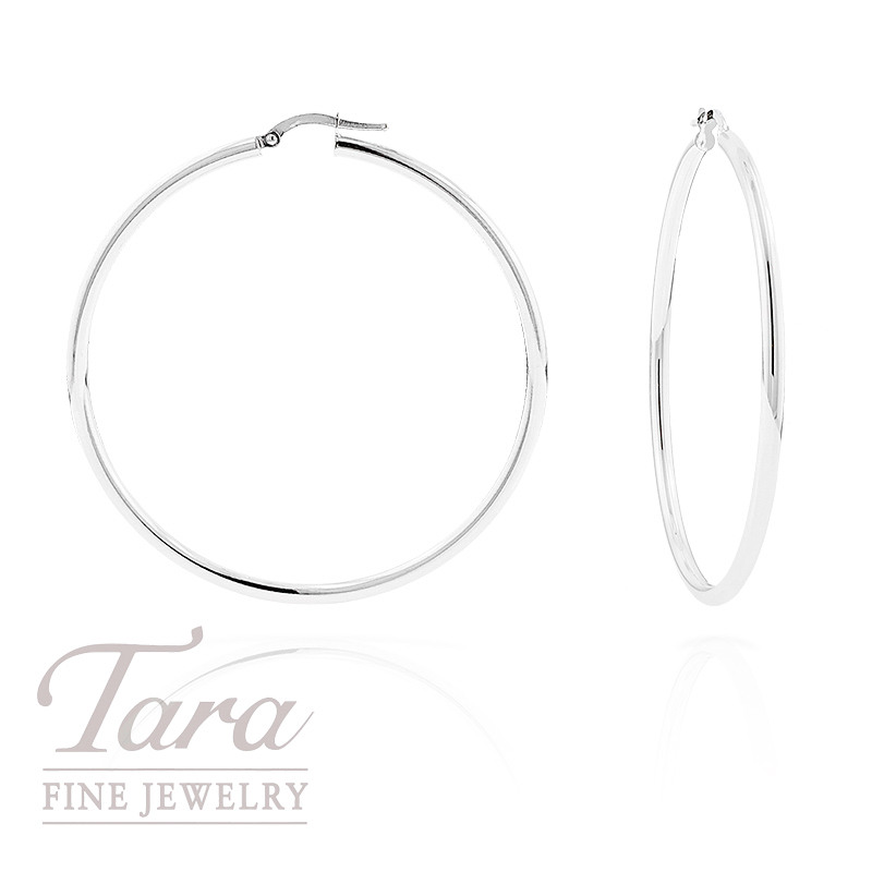Large Hoop Earrings in 14K White Gold