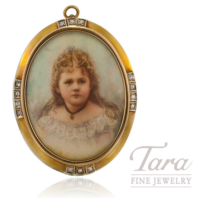 Picture Frame Brooch with Diamond in 14K Yellow Gold, .25 CT TW.