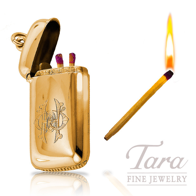 Antique Match Holder in 9K Yellow Gold