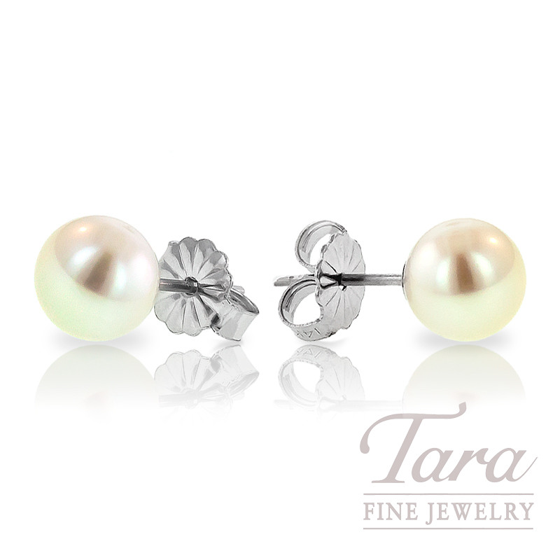 Pearl Stud Earrings in 14K White Gold - Click for Available Sizes!
