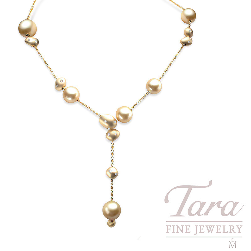 Mikimoto Golden South Sea Pearl and Diamond Necklace, .56 TDW