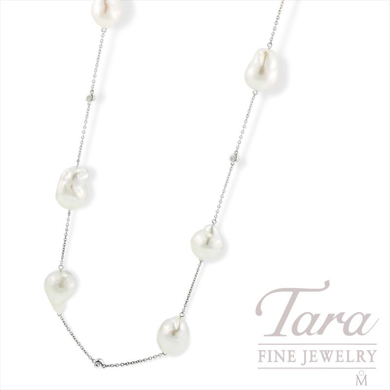 "Mikimoto Pearl & Diamond Necklace, 40"" in 18K White Gold, .21tdw"