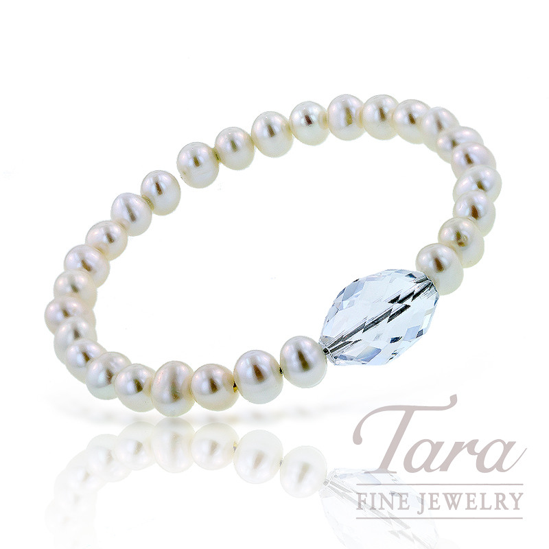 Freshwater Pearl and Crystal Bangle