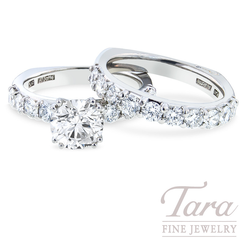 Diamond Engagement Ring and Band by A. Jaffe in Platinum, 1.80 TDW (Center stone sold separately)