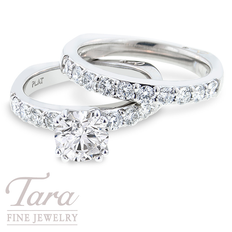 Diamond Engagement Ring by A. Jaffe in Platinum & Matching Diamond Band, .92 TDW (Center stone sold separately)