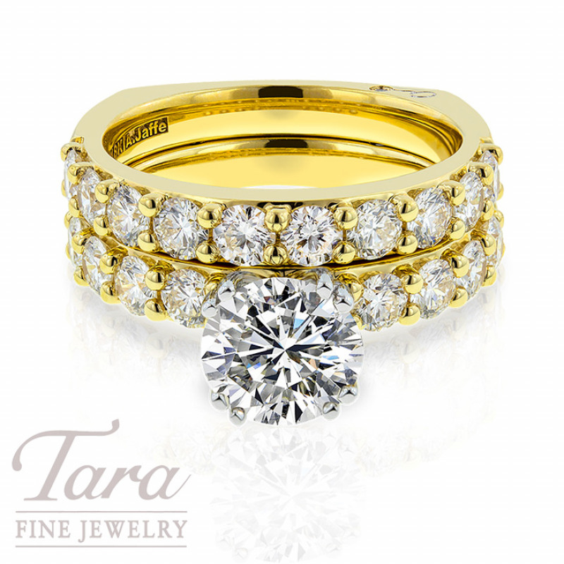 A. Jaffe 18k Yellow Gold Diamond Wedding Ring And Band 1.82TDW (Center Stone Sold Separately)