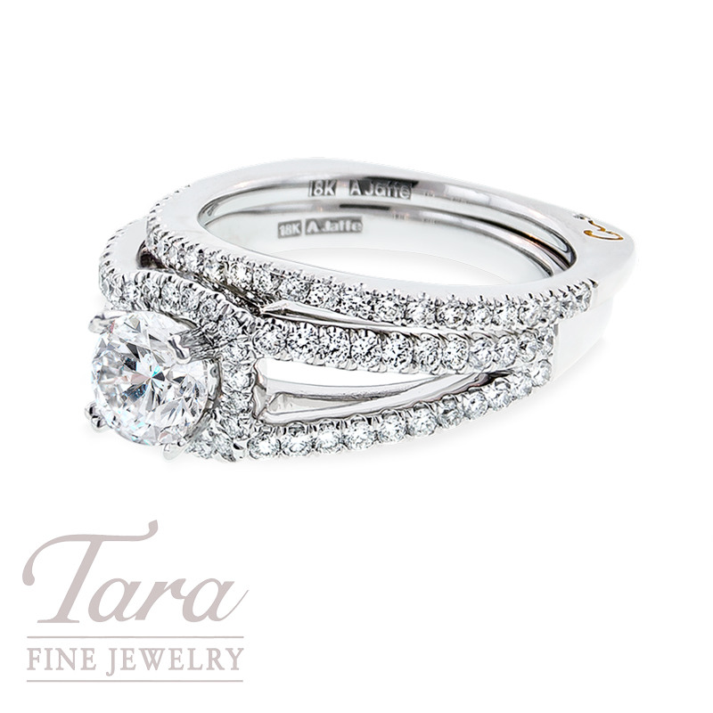 Diamond Engagement Ring by A. Jaffe, .59 TDW & Diamond Band, .26 TDW (Center stone sold separately)