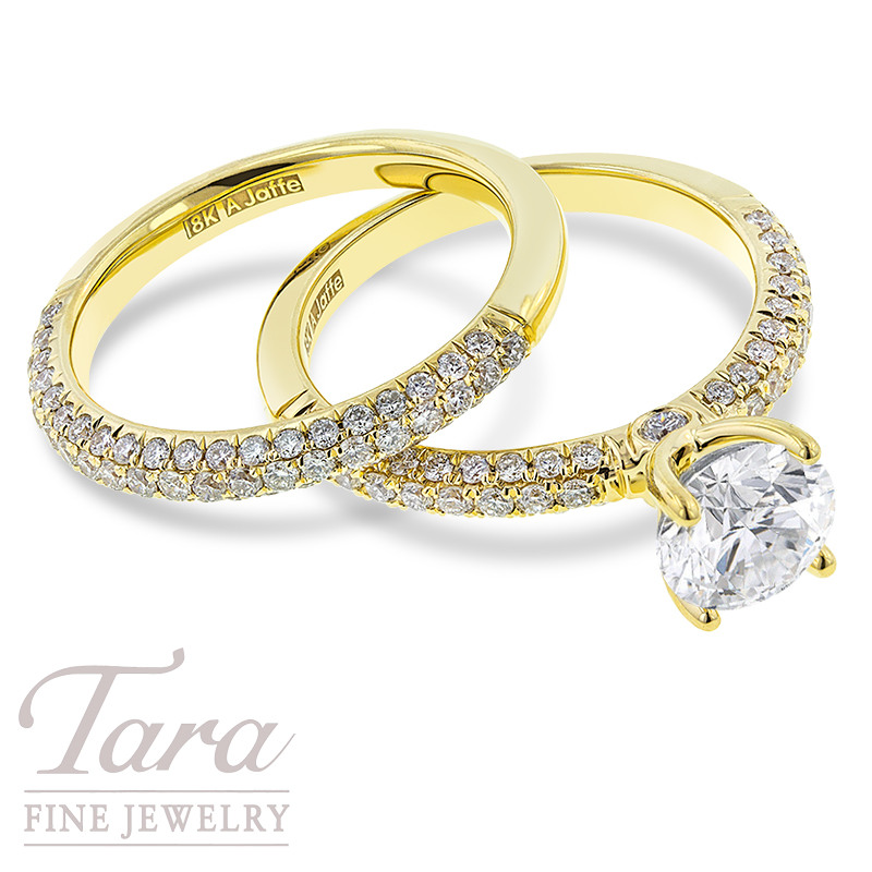 A. Jaffe Diamond Wedding Set in 18K Yellow Gold .48TDW In Semi-Mount .49 TDW Band (Center Stone Sold Separately)