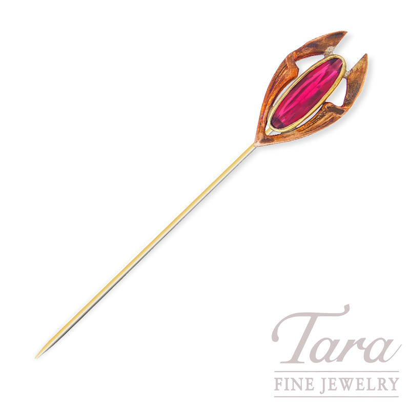 Antique Gold Filled Stick Pin Featuring an Oval Red Glass Stone