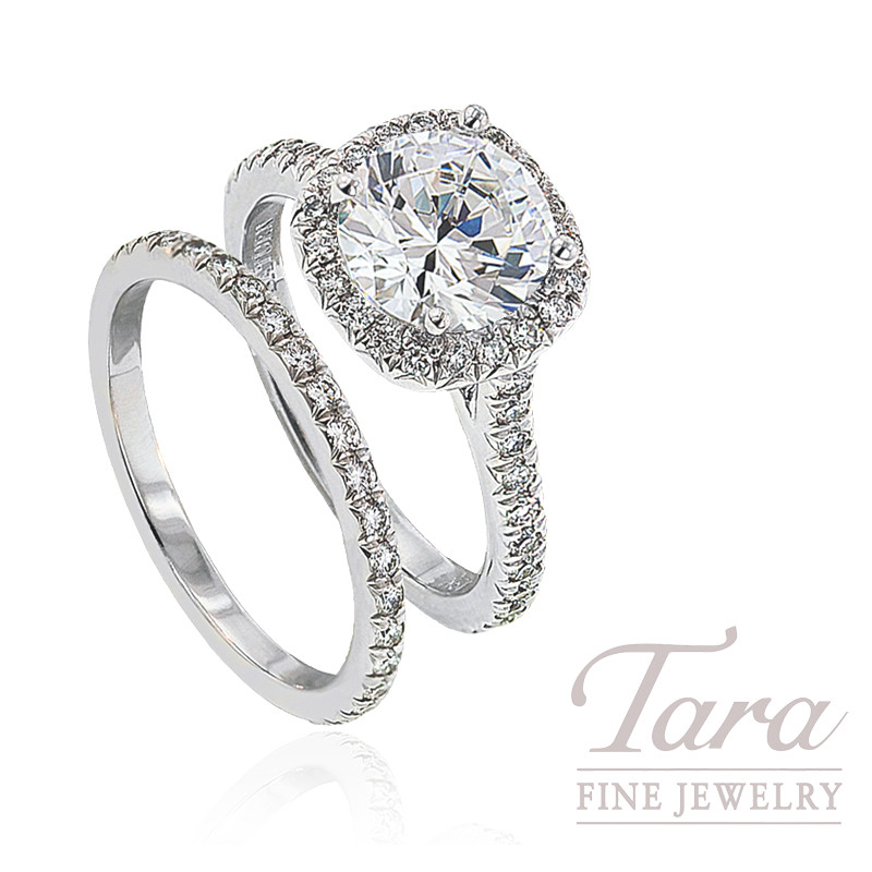 Diamond Halo Engagement Ring & Matching Band - Click for Available Sizes!