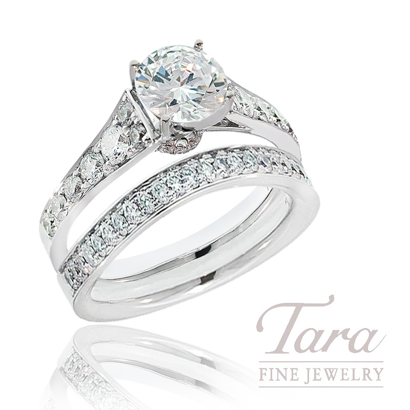 Diamond Engagement Ring in 18K White Gold, .59 TDW and Matching Band, .17 TDW (Center stone sold separately)