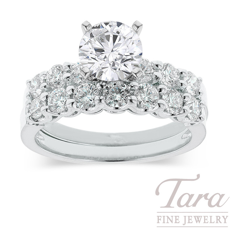 Diamond Wedding Set in 18K White Gold .93TDW (Center Stone Sold Separately)
