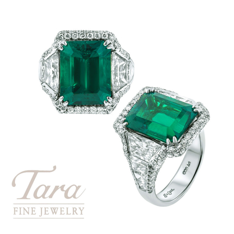 Platinum 7.13CT Natural Colombian Emerald & Diamond Ring