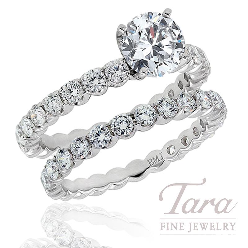 Diamond Engagement Ring in 18k White Gold .75tdw & Eternity Band, .79 TDW (Center stone sold separately)