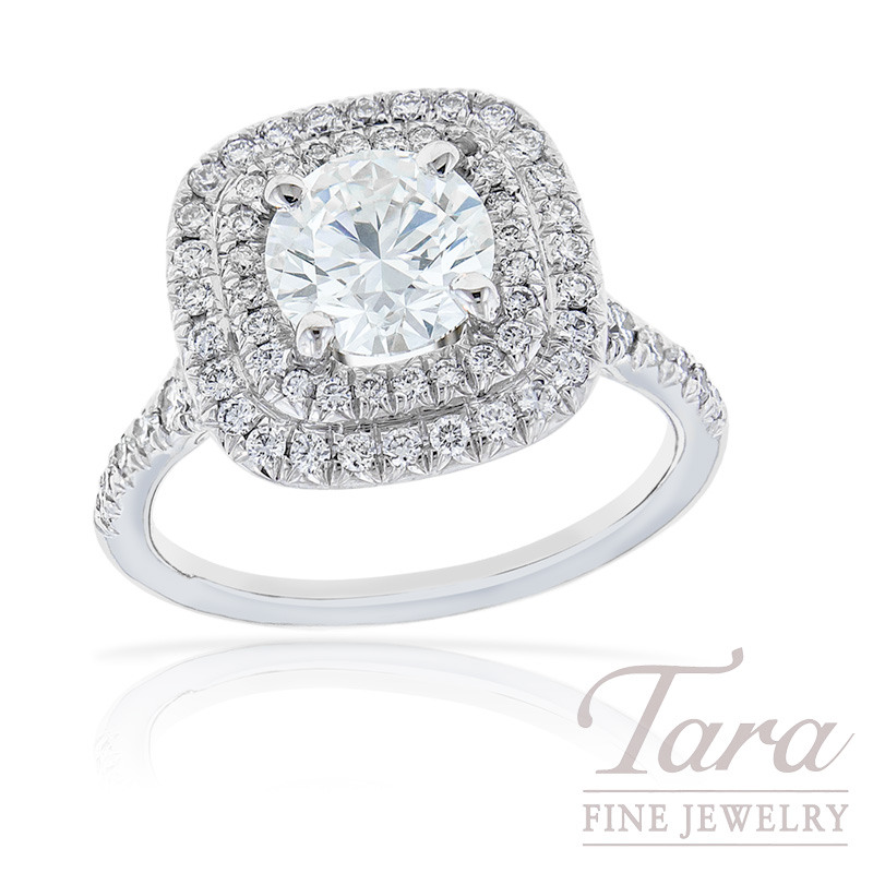 Forevermark Engagament Ring, 1.25CT in 18K White Gold Double Halo Mounting, .51TDW