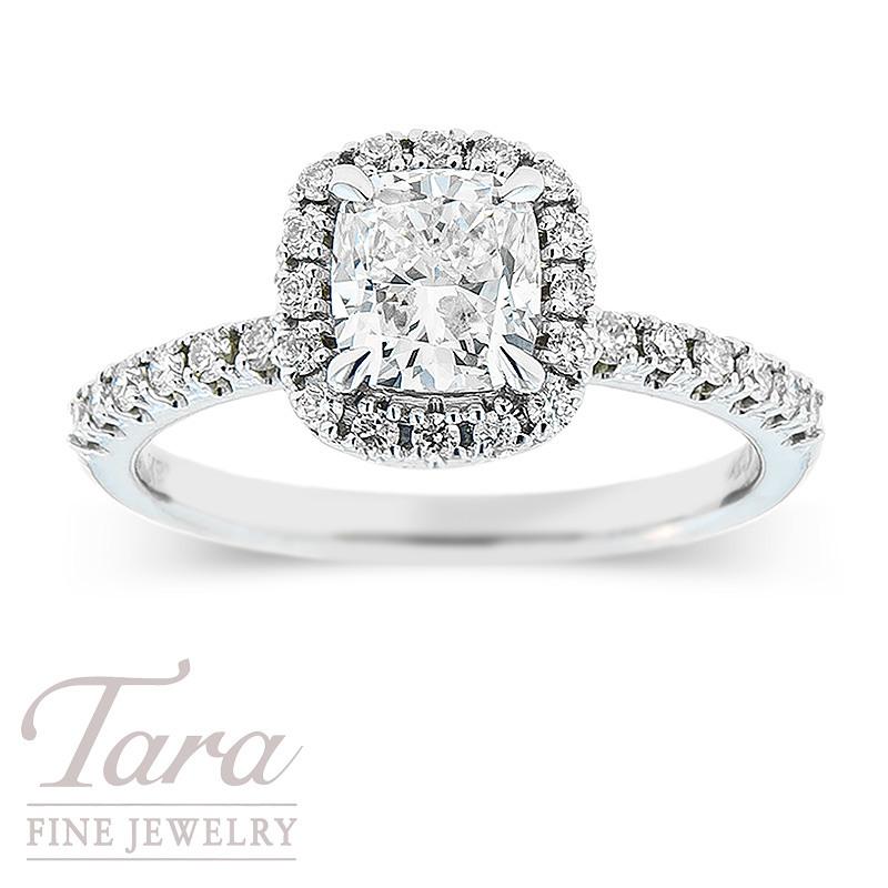 Forevermark Diamond Engagement Ring In 18K White Gold 1.05CT Center, .33TDW Halo Mounting