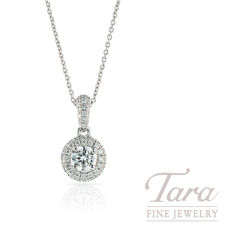 Forevermark Diamond Halo Pendant in 18k White Gold with Diamond Chain 1.01CT Center, .77TDW Halo