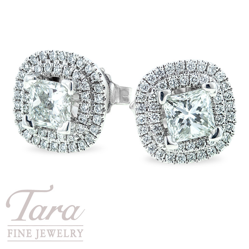 Forevermark Princess Cut Diamond Earrings, 1.13TDW Princess Cuts, with Double Halo .38TDW