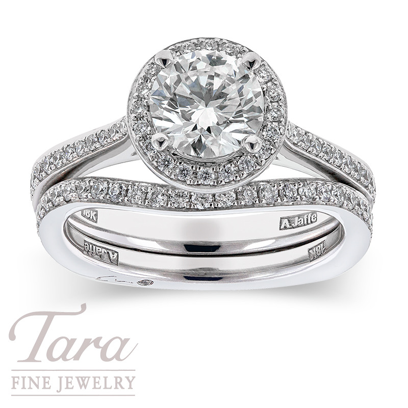 Forevermark Diamond Engagement Ring with Band In 18K White Gold 1.01CT Center, .29TDW Halo, .18TDW Band