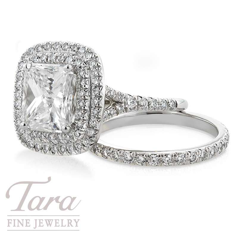 Diamond Halo Engagement Ring and Band, .84 TDW with 2.94ct Radiant Cut Center Diamond