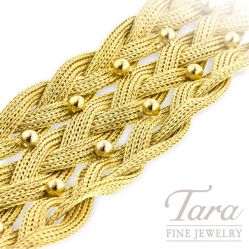 Italian Braided Bracelet in 18K Yellow Gold
