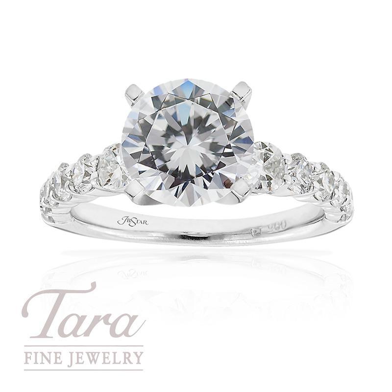 J.B. Star Diamond Engagement Ring in Platinum, .59tdw (Center stone sold separately)