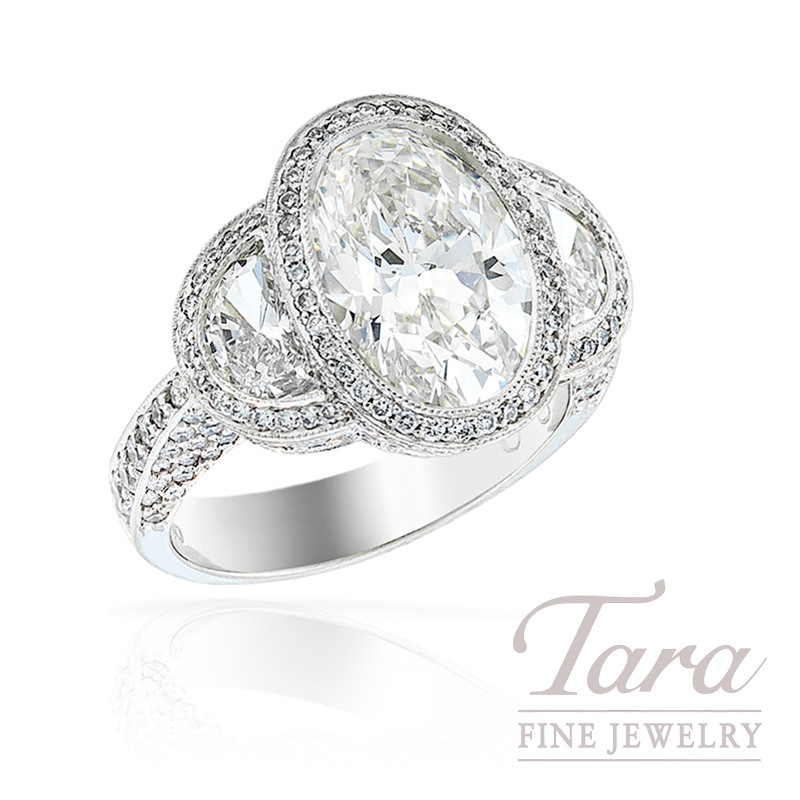 J.B. Star Diamond Ring in Platinum with 1.70tdw Half Moon Accents and 3.39 ct Oval Center