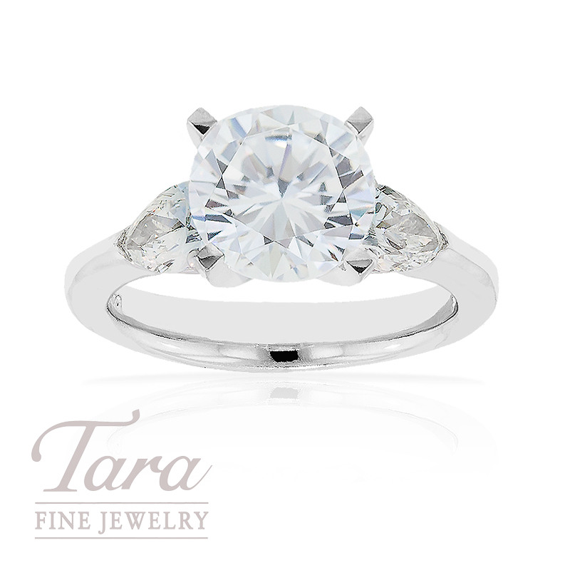 J.B. Star Diamond Engagement Ring in Platinum, .89 ctw with 2 Pear Shaped Accents (Center stone sold separately)