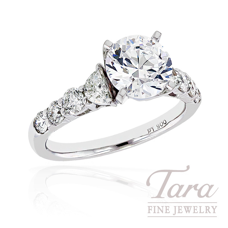 J.B. Star Diamond Engagement Ring in Platinum, .85 ctw (Center stone sold separately)