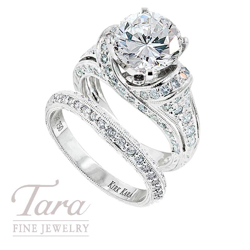 Diamond Engagement Ring by Kirk Kara in 18K White Gold, .30TDW & Matching Band, .18 TDW (Center stone sold separately)