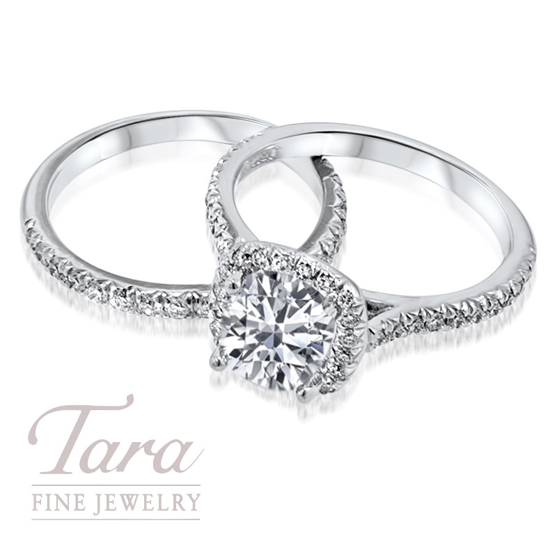 Ladies Diamond Wedding Band and Ring (Center