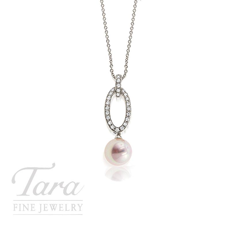 Mikimoto Pearl and Diamond Necklace .18TDW 18K White Gold