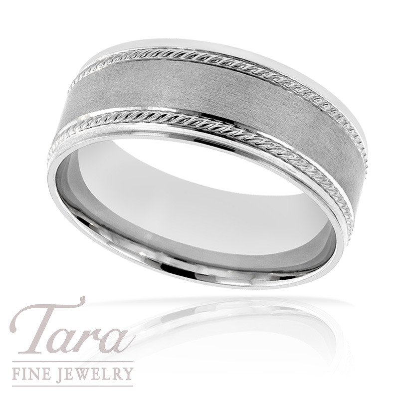 Mens Wedding Band in White Gold 95 Grams Size 10 Tara Fine