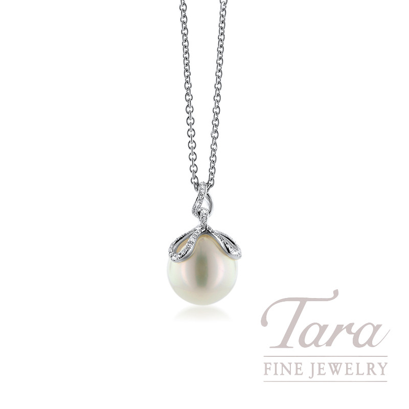 Mikimoto 18k White Gold 12MM Pearl Pendant with Chain, .30TDW