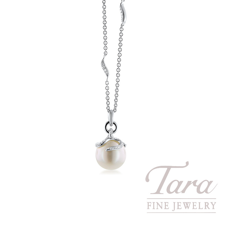 Mikimoto 18k White Gold 12MM Pearl Pendant with Chain, .37TDW