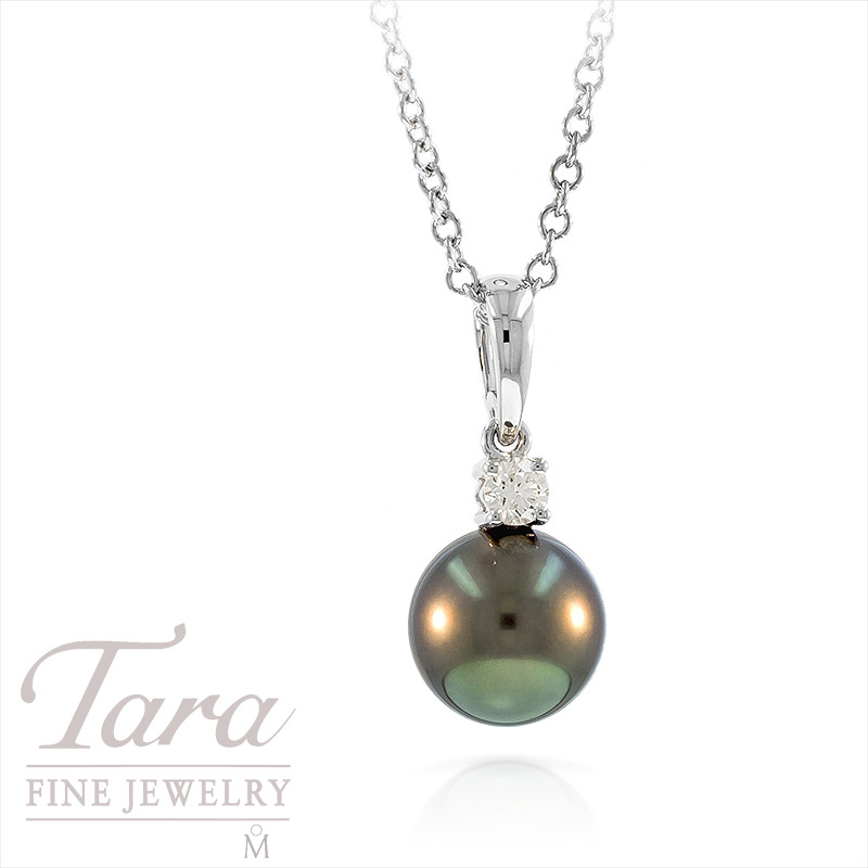 Mikimoto 9mm Black Pearl and Diamond Pendant in 18k White Gold, .10tdw