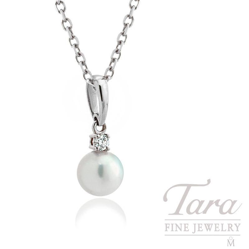 Mikimoto Pearl & Diamond Pendant in 18K White Gold, .05tdw