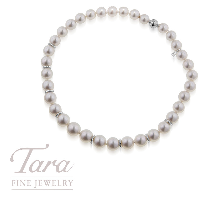 Mikimoto South Sea Strand 1.84TDW, 1.01TDW 18K White Gold Clasp