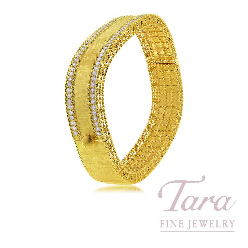 Roberto Coin 18K Yellow Gold Princess Medium Satin Diamond Bangle, 1.80TDW