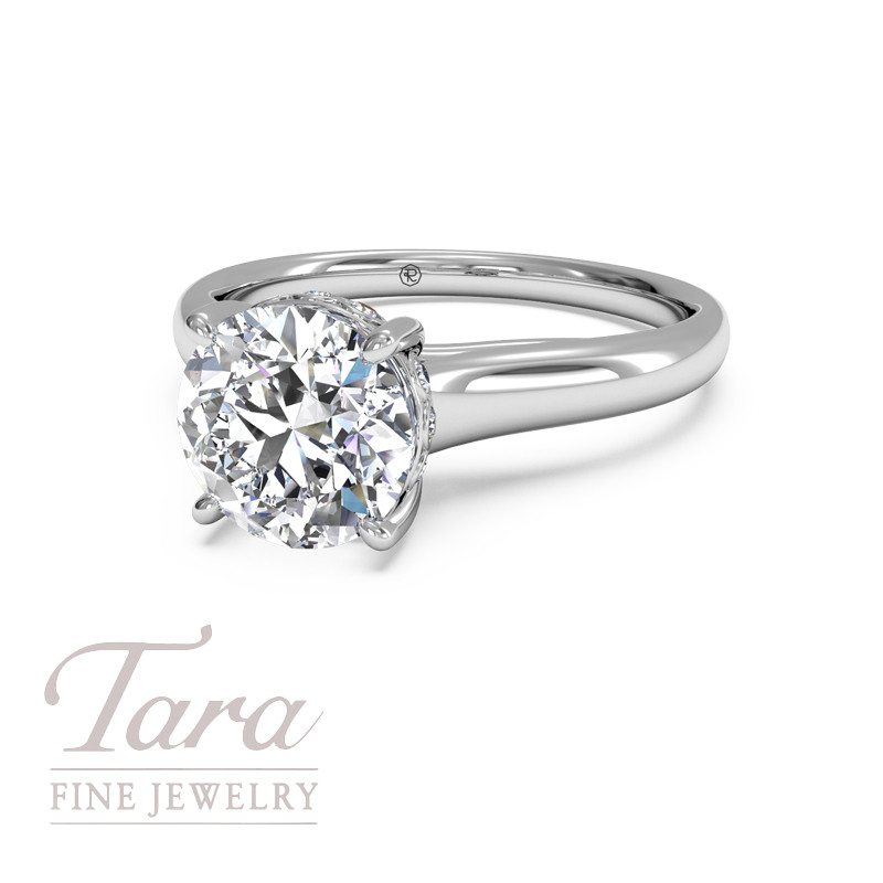 Ritani Diamond Engagement Ring in 18K White Gold .04TDW (Center Stone Sold Separately)