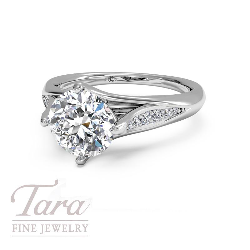 Ritani Diamond Engagement Ring in 18K White Gold .08TDW (Center Stone Sold Separately)