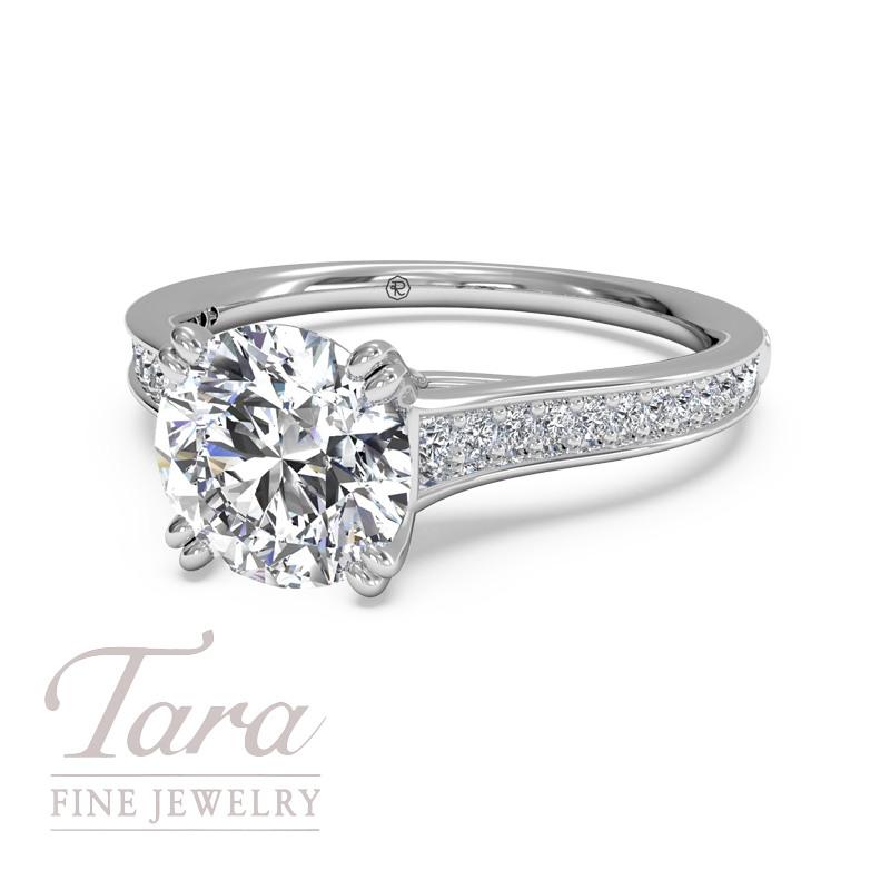 Ritani Diamond Engagement Ring in 18K White Gold .13TDW (Center Stone Sold Separately)