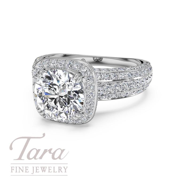 Ritani Diamond Engagement Ring in 18K White Gold .73TDW (Center Stone Sold Separately)