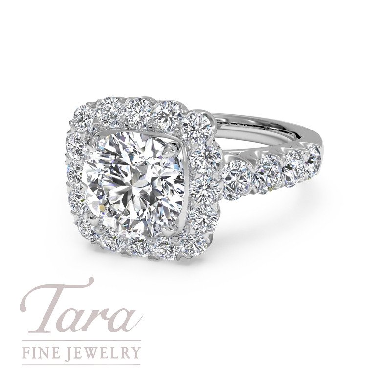 Ritani Diamond Engagement Ring in 18K White Gold .86TDW (Center Stone Sold Separately)