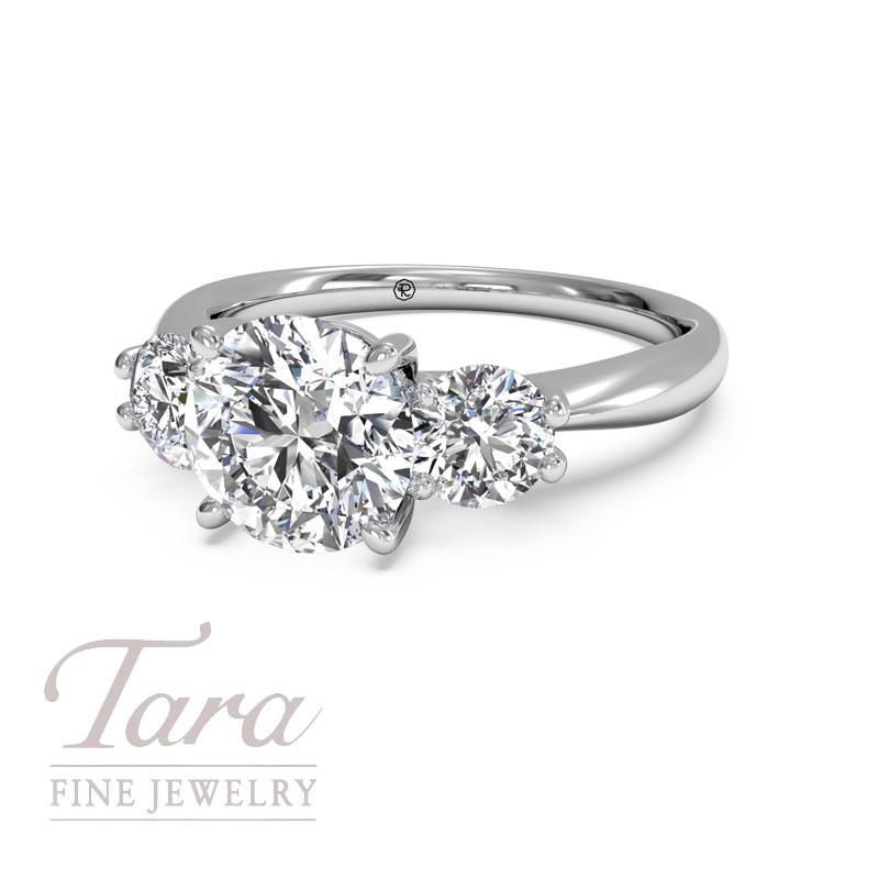 Ritani Diamond Engagement Ring in 18K White Gold Three Stone Royal (Center Stone Sold Separately) .50TDW