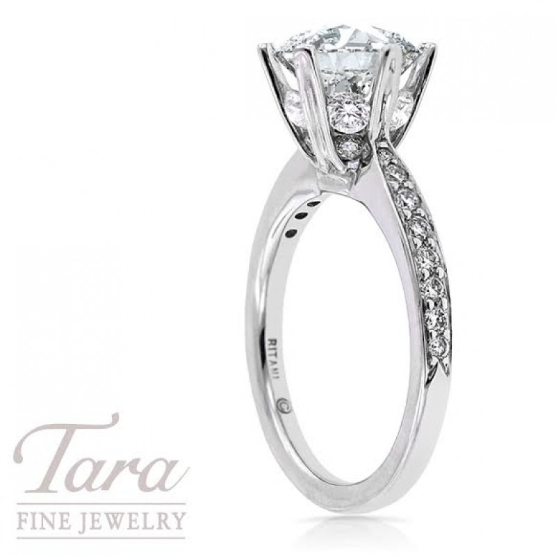 Ritani Diamond Engagement Semi Mount in 18K White Gold,1.38 TDW (Center Stone Sold Separately)