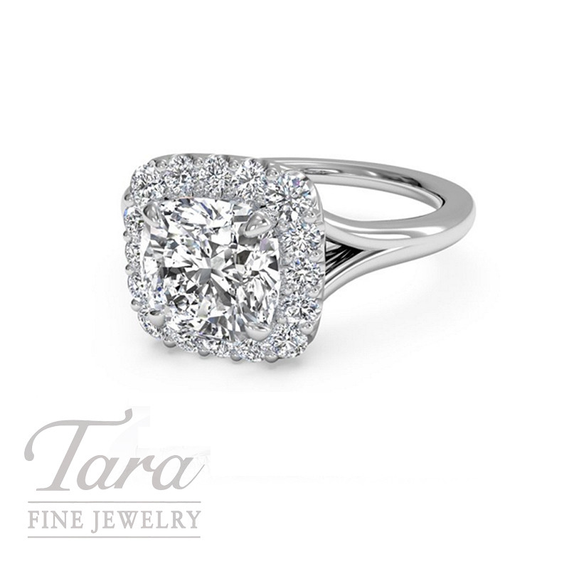 Ritani Diamond Halo Engagement Ring in 18K White Gold, .57CT Center, .15TW Halo (Center Stone Sold Separately)
