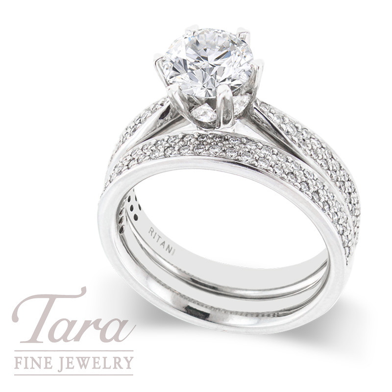 Ritani Diamond Wedding Set, .83 TDW