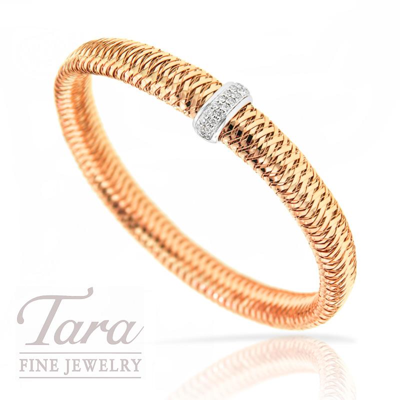 "Roberto Coin 18K Rose Gold Diamond Bracelet .18TDW ""Primavera"" Collection"